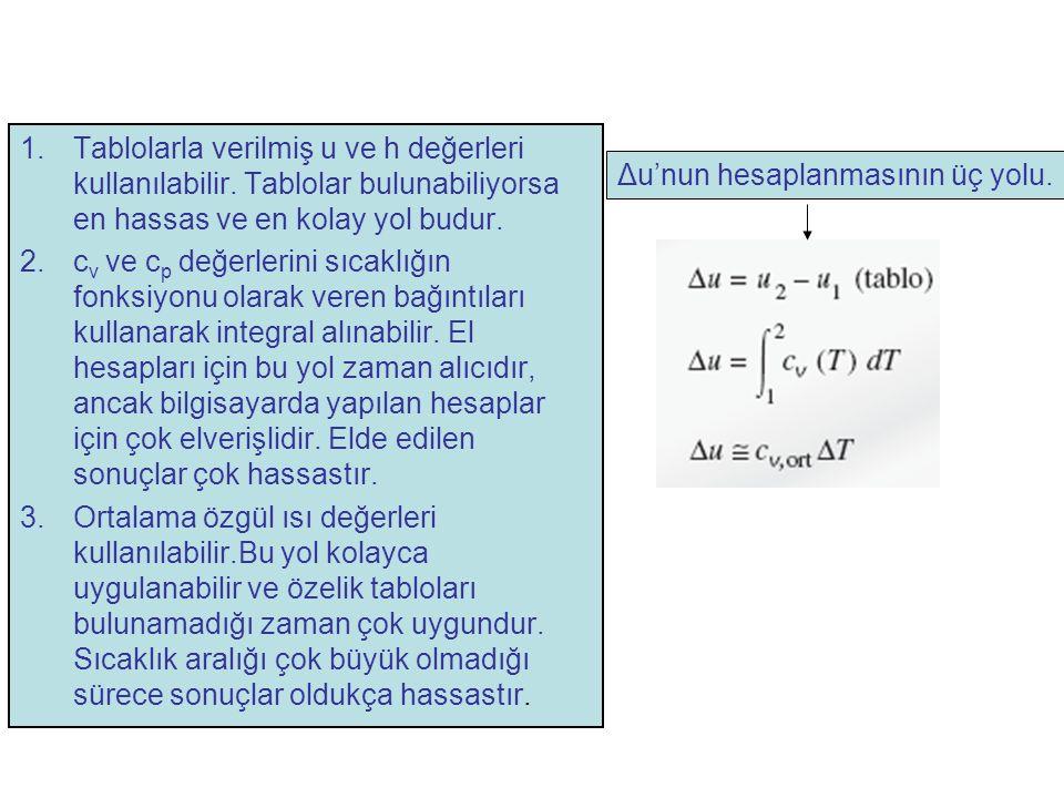 1.Tablolarla verilmiş u ve h değerleri kullanılabilir. Tablolar bulunabiliyorsa en hassas ve en kolay yol budur. 2.c v ve c p değerlerini sıcaklığın f