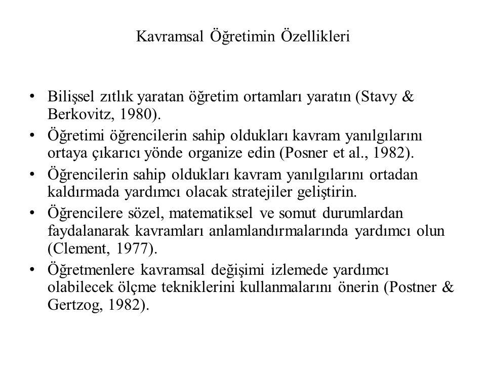 Kavramsal Öğretimin Özellikleri Bilişsel zıtlık yaratan öğretim ortamları yaratın (Stavy & Berkovitz, 1980). Öğretimi öğrencilerin sahip oldukları kav