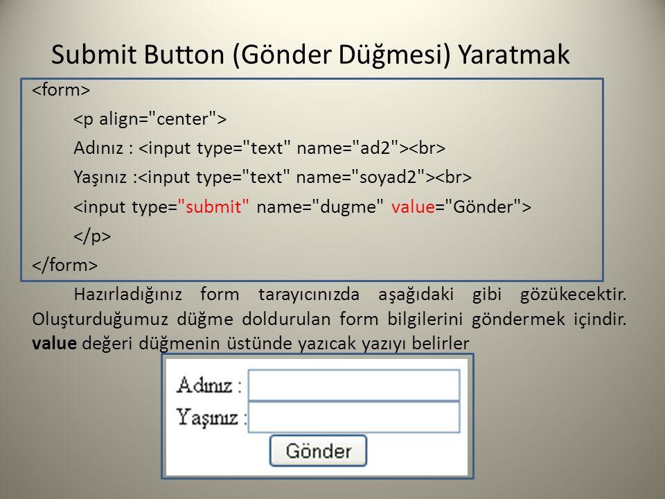 Submit Button (Gönder Düğmesi) Yaratmak Adınız : Yaşınız : Hazırladığınız form tarayıcınızda aşağıdaki gibi gözükecektir. Oluşturduğumuz düğme dolduru