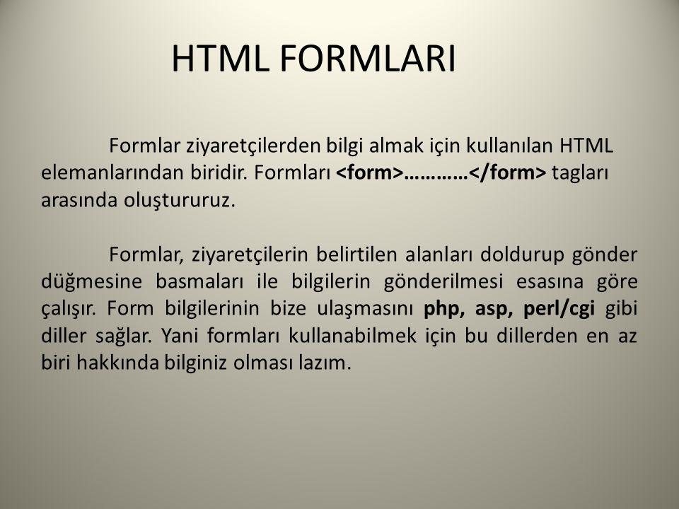 HTML FORMLARI Formlar ziyaretçilerden bilgi almak için kullanılan HTML elemanlarından biridir. Formları ………… tagları arasında oluştururuz. Formlar, zi