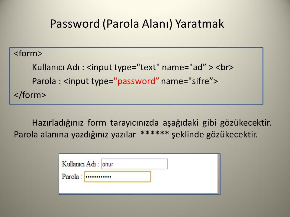 Password (Parola Alanı) Yaratmak Kullanıcı Adı : Parola : Hazırladığınız form tarayıcınızda aşağıdaki gibi gözükecektir. Parola alanına yazdığınız yaz