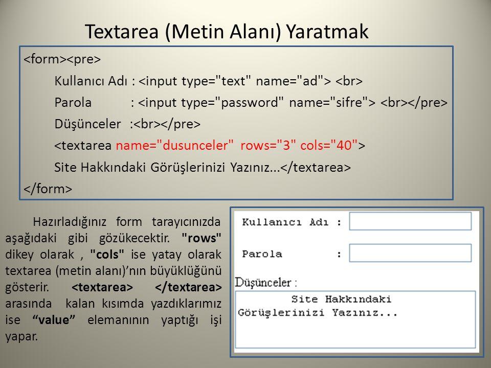 Textarea (Metin Alanı) Yaratmak Kullanıcı Adı : Parola : Düşünceler : Site Hakkındaki Görüşlerinizi Yazınız... Hazırladığınız form tarayıcınızda aşağı