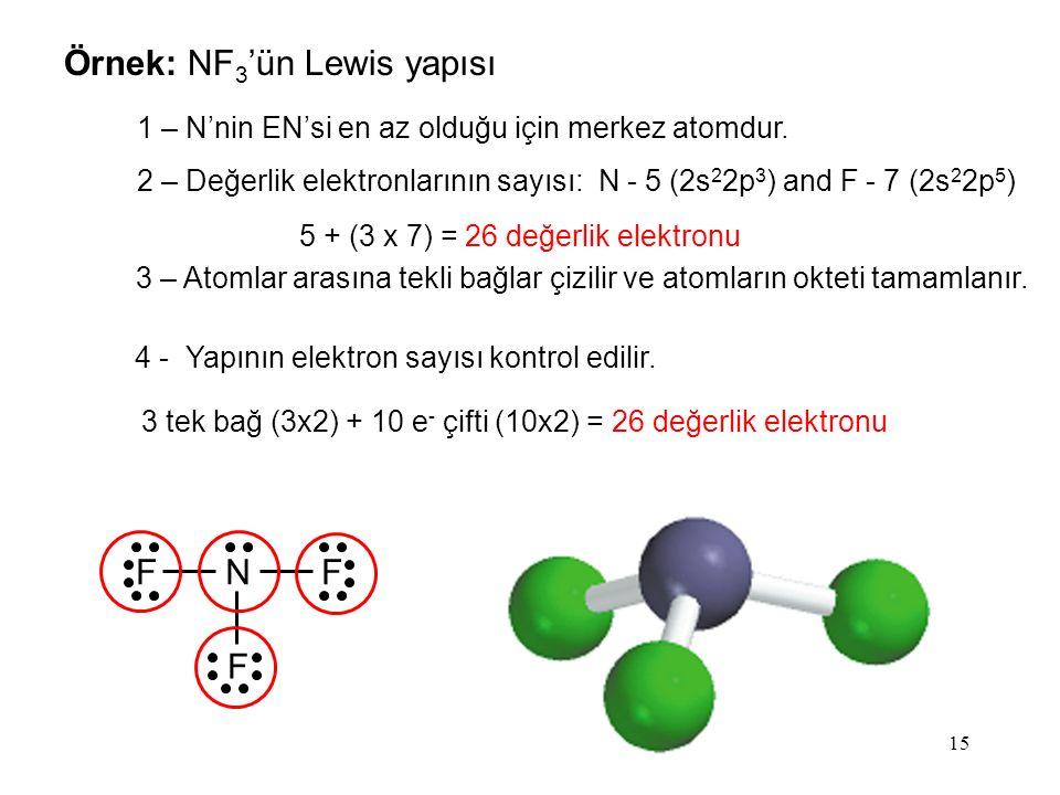 15 Örnek: NF 3 'ün Lewis yapısı 1 – N'nin EN'si en az olduğu için merkez atomdur.