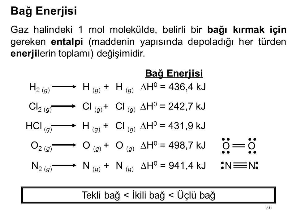 26 Bağ Enerjisi Gaz halindeki 1 mol molekülde, belirli bir bağı kırmak için gereken entalpi (maddenin yapısında depoladığı her türden enerjilerin toplamı) değişimidir.