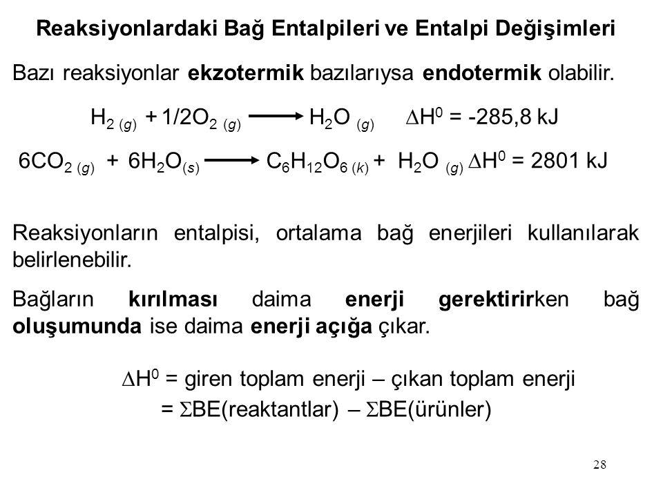 28 Reaksiyonlardaki Bağ Entalpileri ve Entalpi Değişimleri Bazı reaksiyonlar ekzotermik bazılarıysa endotermik olabilir.