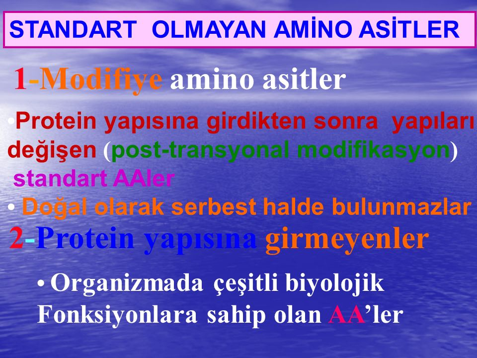1-Modifiye amino asitler 2-Protein yapısına girmeyenler STANDART OLMAYAN AMİNO ASİTLER Protein yapısına girdikten sonra yapıları değişen ( post-transy