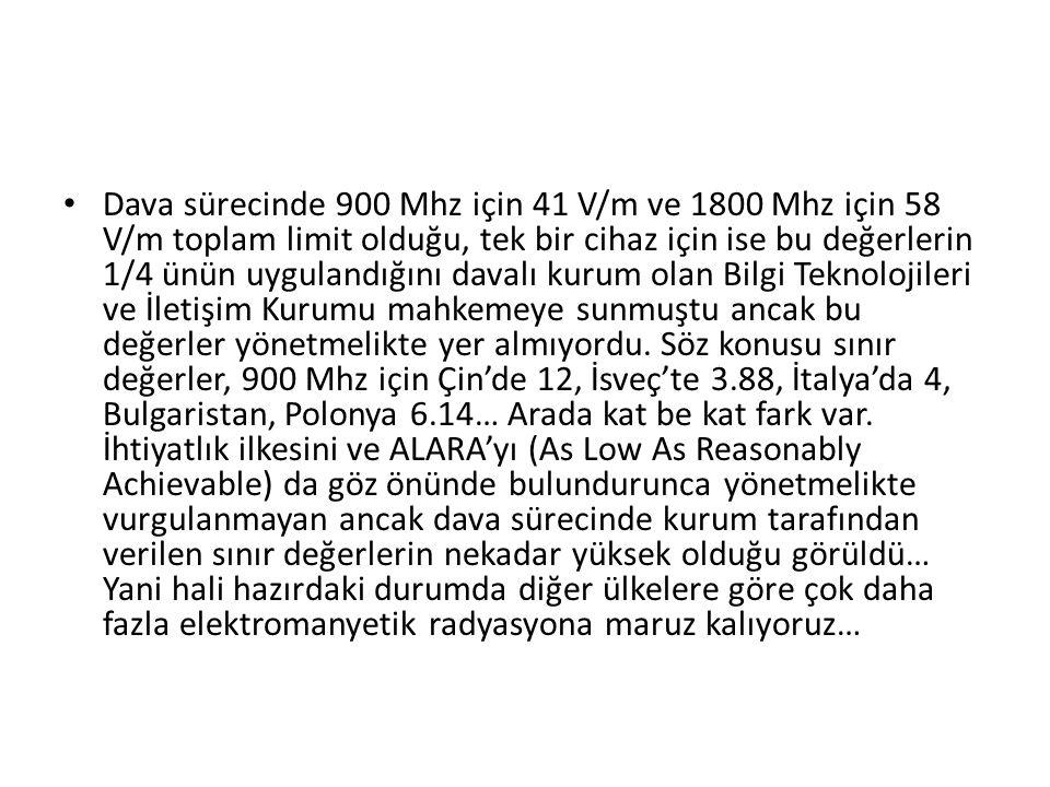 Dava sürecinde 900 Mhz için 41 V/m ve 1800 Mhz için 58 V/m toplam limit olduğu, tek bir cihaz için ise bu değerlerin 1/4 ünün uygulandığını davalı kurum olan Bilgi Teknolojileri ve İletişim Kurumu mahkemeye sunmuştu ancak bu değerler yönetmelikte yer almıyordu.