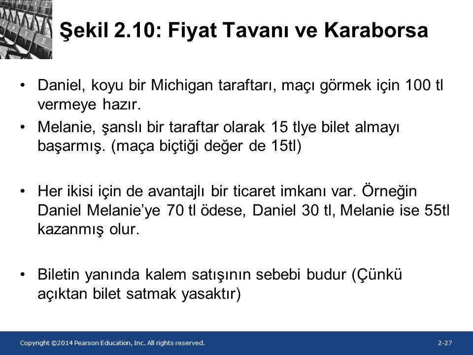 Copyright ©2014 Pearson Education, Inc. All rights reserved.2-27 Şekil 2.10: Fiyat Tavanı ve Karaborsa Daniel, koyu bir Michigan taraftarı, maçı görme