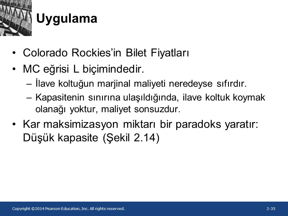 Copyright ©2014 Pearson Education, Inc. All rights reserved.2-35 Uygulama Colorado Rockies'in Bilet Fiyatları MC eğrisi L biçimindedir. –İlave koltuğu