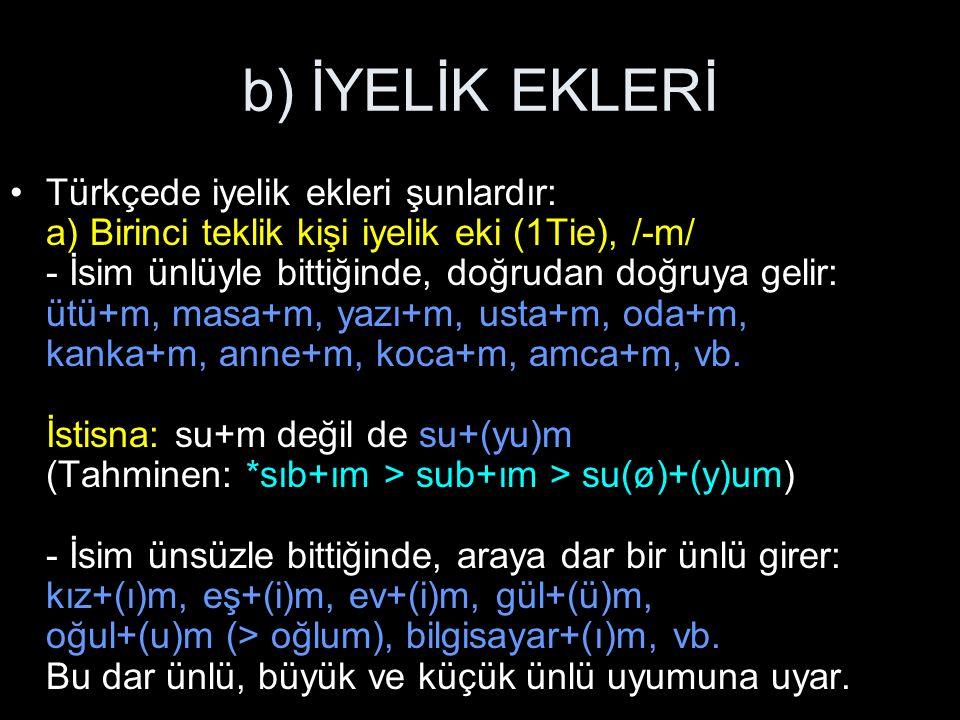 b) İYELİK EKLERİ Türkçede iyelik ekleri şunlardır: a) Birinci teklik kişi iyelik eki (1Tie), /-m/ - İsim ünlüyle bittiğinde, doğrudan doğruya gelir: ütü+m, masa+m, yazı+m, usta+m, oda+m, kanka+m, anne+m, koca+m, amca+m, vb.