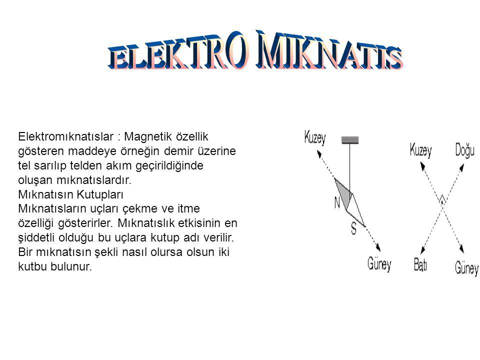 Elektromıknatıslar : Magnetik özellik gösteren maddeye örneğin demir üzerine tel sarılıp telden akım geçirildiğinde oluşan mıknatıslardır. Mıknatısın