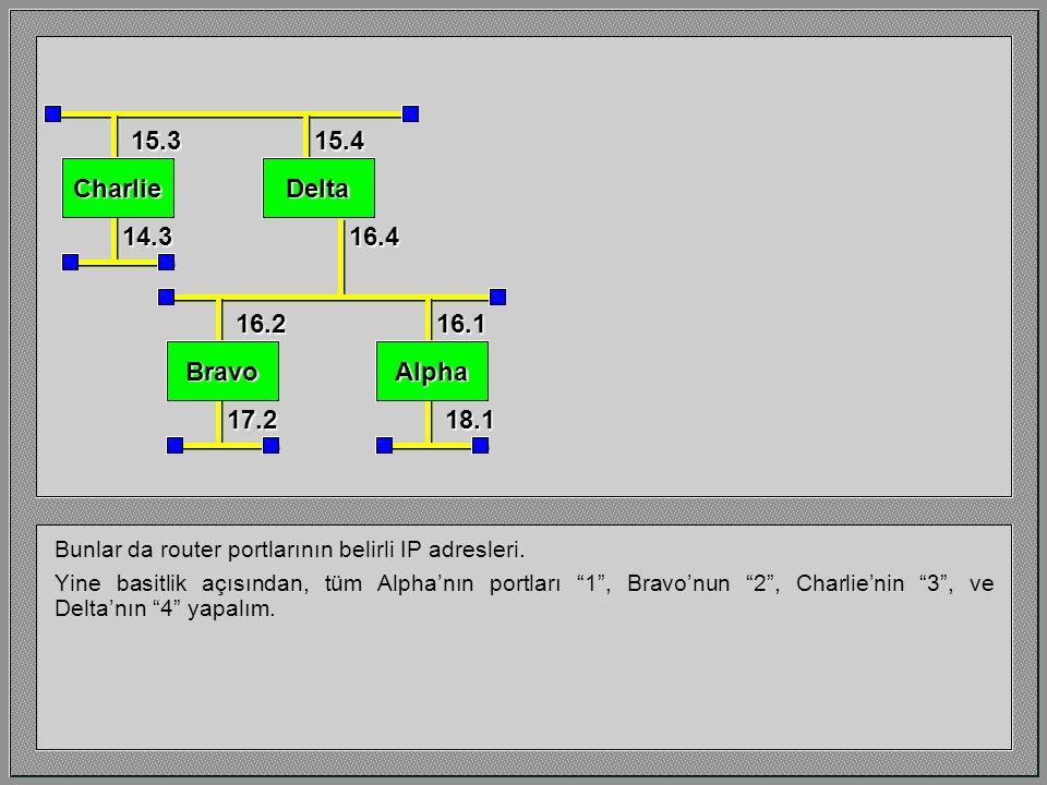 Şimdi bu diğer LAN segmetlerini ekleyebiliriz. 15.0 16.0 14.0 17.018.0 AlphaBravo DeltaCharlie