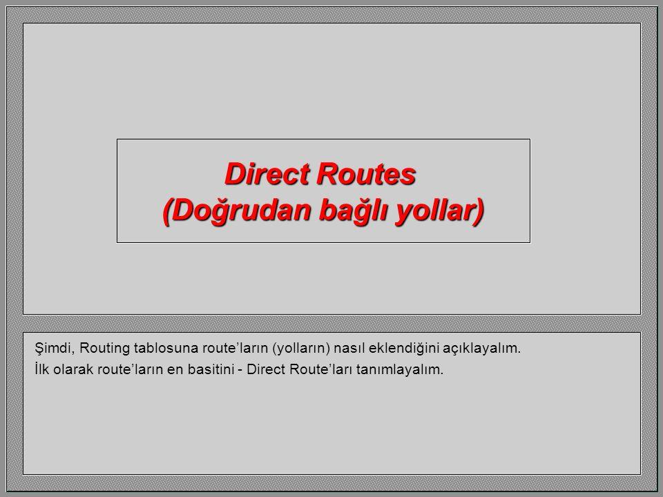 Bunlar da router portlarının belirli IP adresleri.
