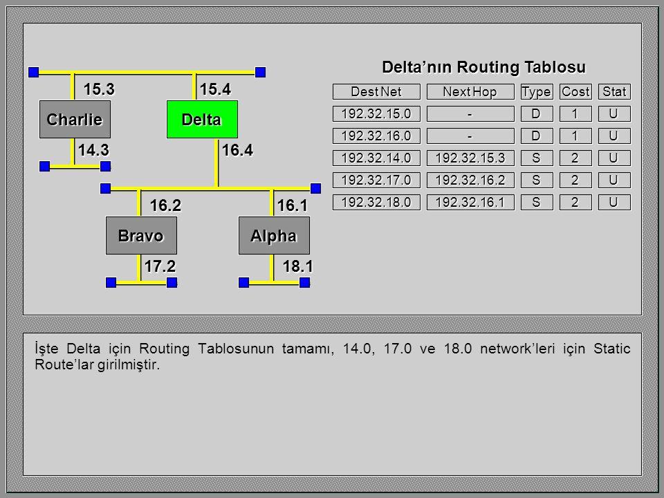 İşte Delta'nın 14.0 network'üne erişmesini sağlayan Static Route bilgisi.
