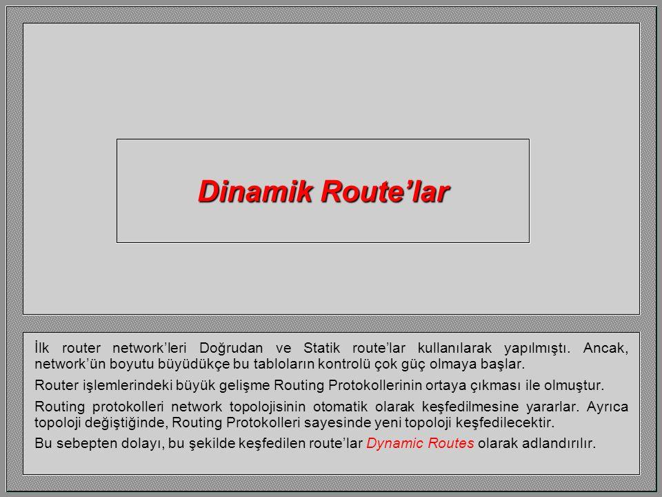 İşte Delta için Routing Tablosunun tamamı, 14.0, 17.0 ve 18.0 network'leri için Static Route'lar girilmiştir.