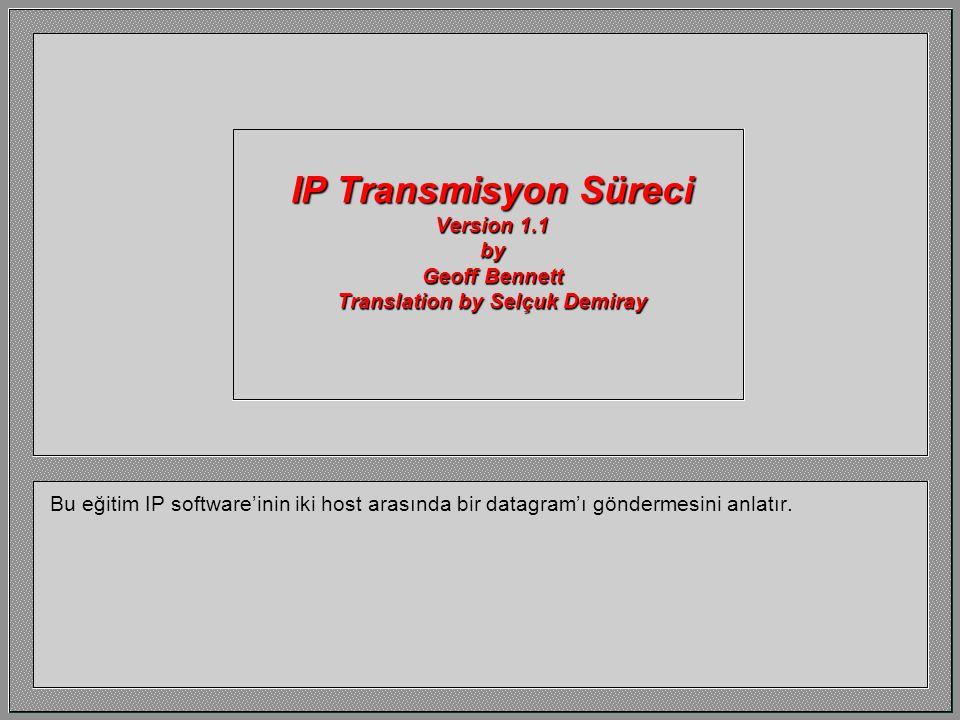 IP Transmisyon Süreci Version 1.1 by Geoff Bennett Translation by Selçuk Demiray Bu eğitim IP software'inin iki host arasında bir datagram'ı göndermesini anlatır.