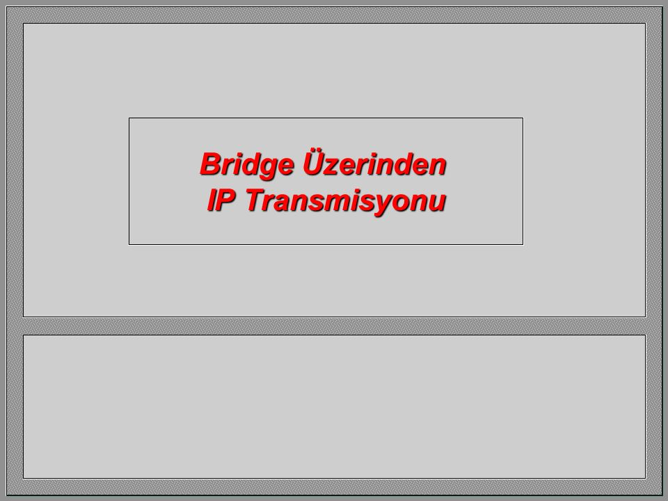 Bridge Üzerinden IP Transmisyonu