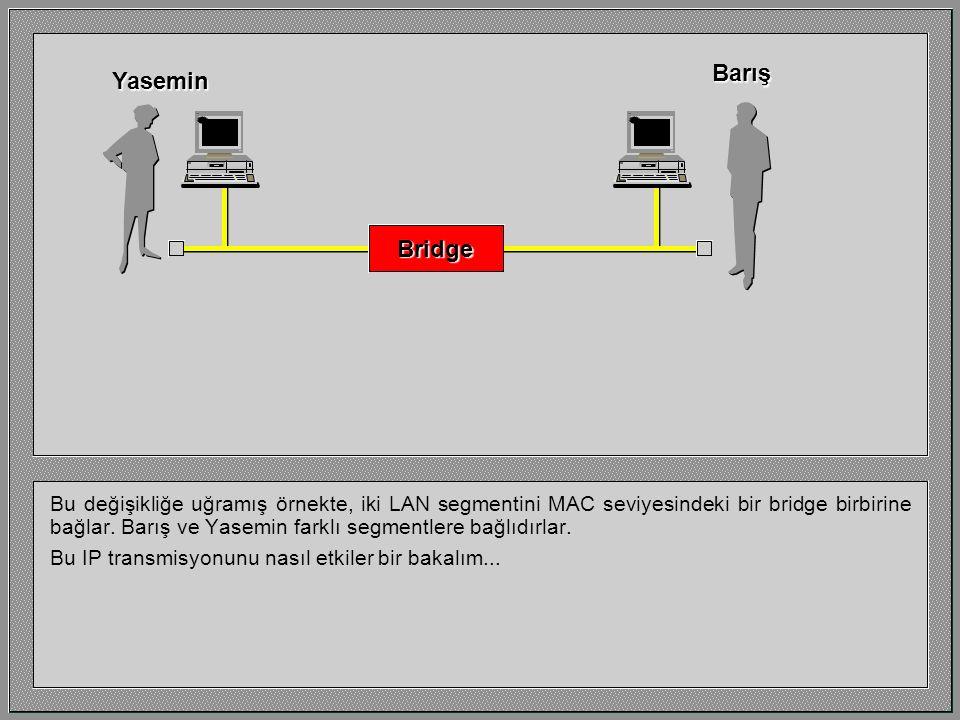 Bu değişikliğe uğramış örnekte, iki LAN segmentini MAC seviyesindeki bir bridge birbirine bağlar. Barış ve Yasemin farklı segmentlere bağlıdırlar. Bu