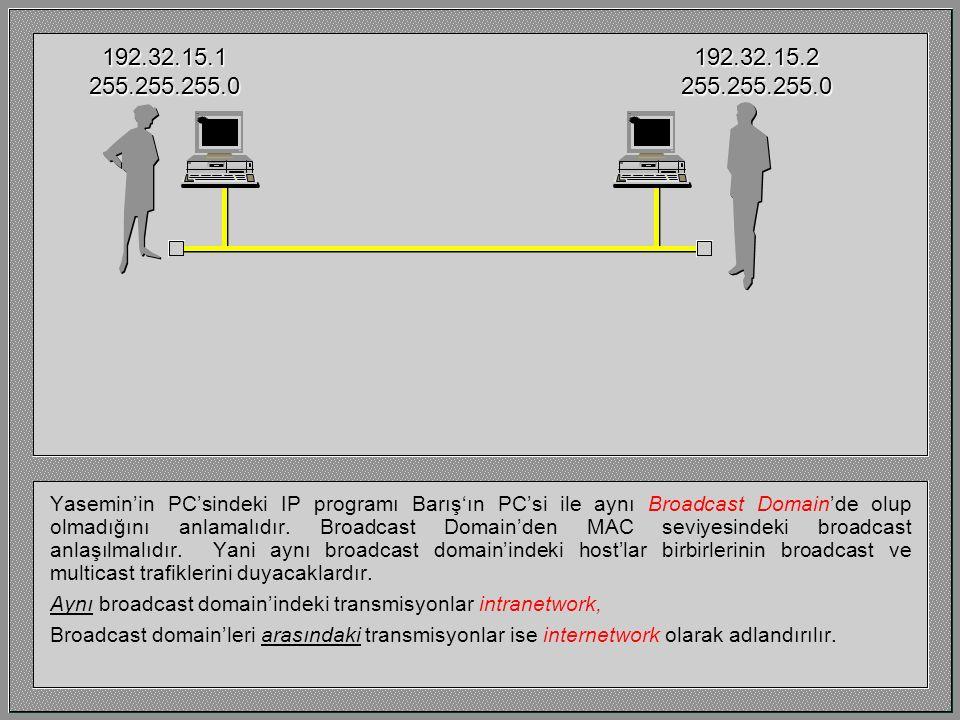 Yasemin'in PC'sindeki IP programı Barış'ın PC'si ile aynı Broadcast Domain'de olup olmadığını anlamalıdır. Broadcast Domain'den MAC seviyesindeki broa