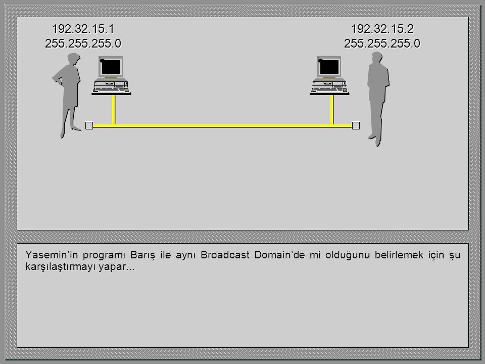 Yasemin'in programı Barış ile aynı Broadcast Domain'de mi olduğunu belirlemek için şu karşılaştırmayı yapar... 192.32.15.1255.255.255.0192.32.15.2255.