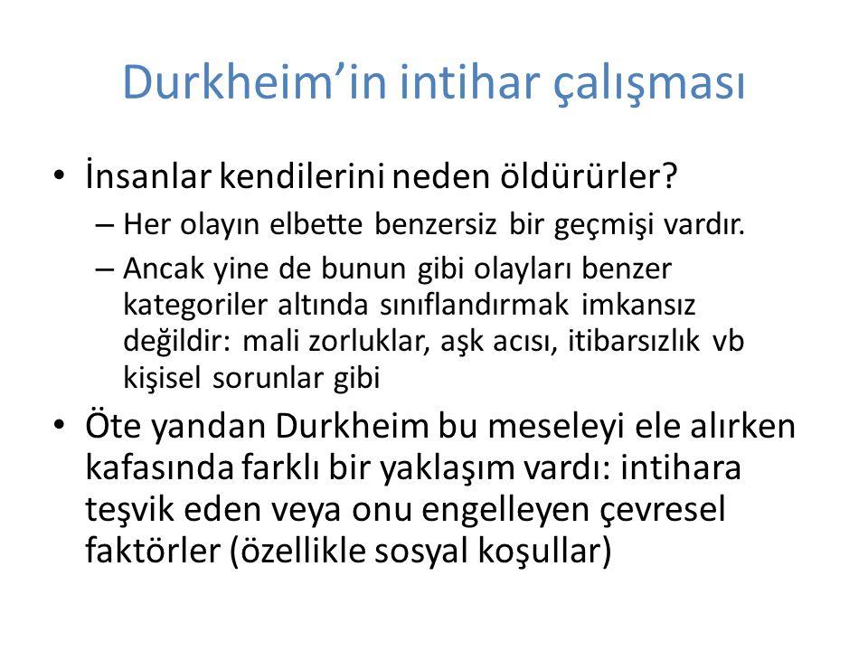 Durkheim'in intihar çalışması İnsanlar kendilerini neden öldürürler.