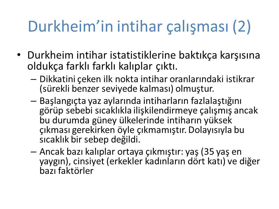 Durkheim'in intihar çalışması (2) Durkheim intihar istatistiklerine baktıkça karşısına oldukça farklı farklı kalıplar çıktı.