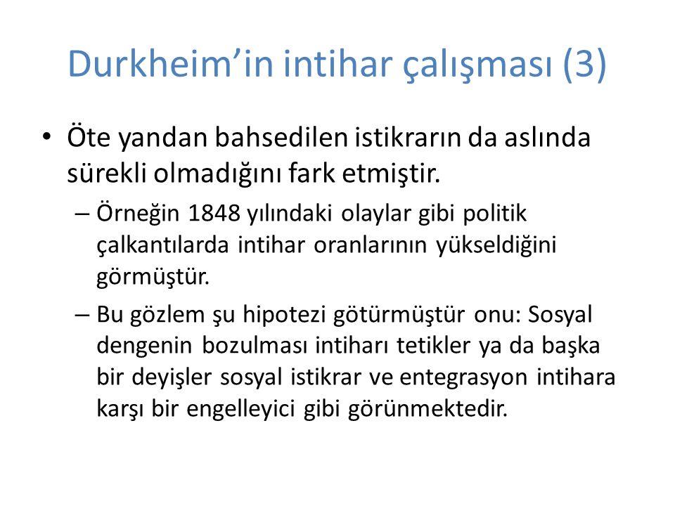 Durkheim'in intihar çalışması (3) Öte yandan bahsedilen istikrarın da aslında sürekli olmadığını fark etmiştir.