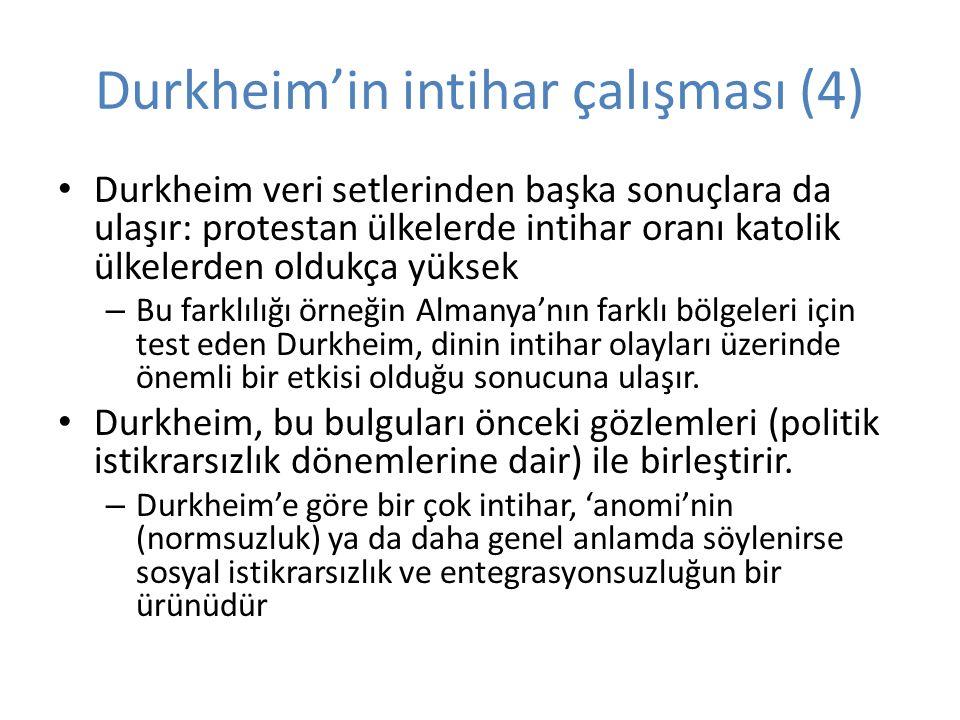 Durkheim'in intihar çalışması (4) Durkheim veri setlerinden başka sonuçlara da ulaşır: protestan ülkelerde intihar oranı katolik ülkelerden oldukça yüksek – Bu farklılığı örneğin Almanya'nın farklı bölgeleri için test eden Durkheim, dinin intihar olayları üzerinde önemli bir etkisi olduğu sonucuna ulaşır.