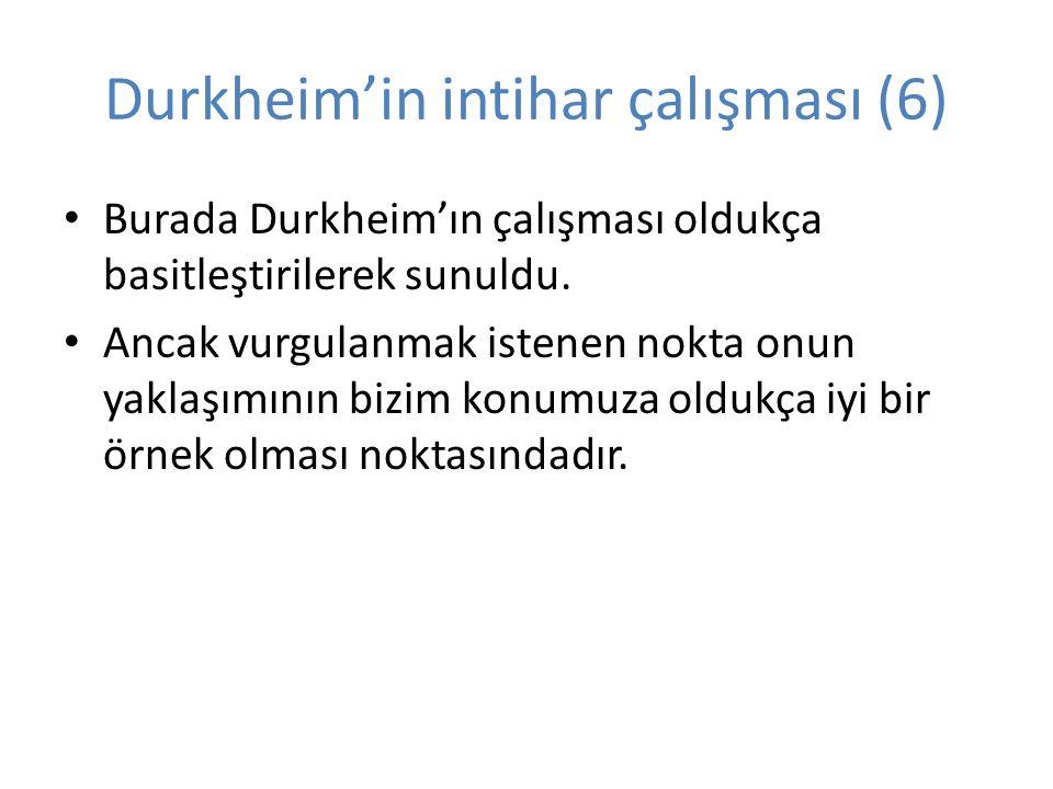 Durkheim'in intihar çalışması (6) Burada Durkheim'ın çalışması oldukça basitleştirilerek sunuldu.