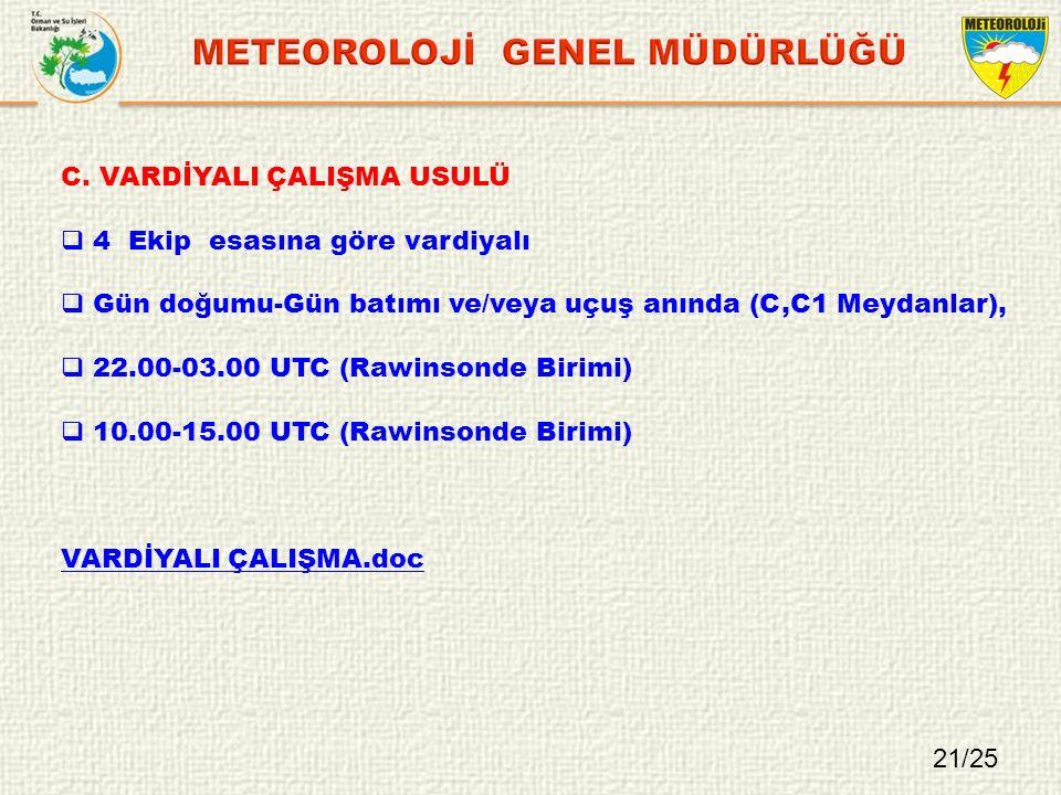 C. VARDİYALI ÇALIŞMA USULÜ  4 Ekip esasına göre vardiyalı  Gün doğumu-Gün batımı ve/veya uçuş anında (C,C1 Meydanlar),  22.00-03.00 UTC (Rawinsonde