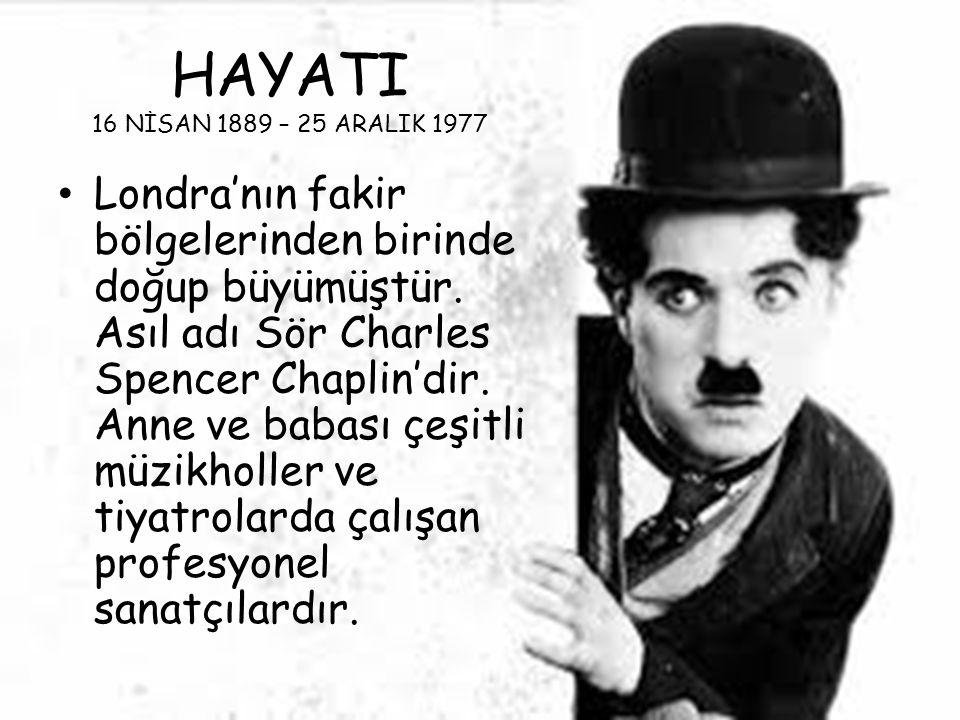 HAYATI 16 NİSAN 1889 – 25 ARALIK 1977 Londra'nın fakir bölgelerinden birinde doğup büyümüştür. Asıl adı Sör Charles Spencer Chaplin'dir. Anne ve babas