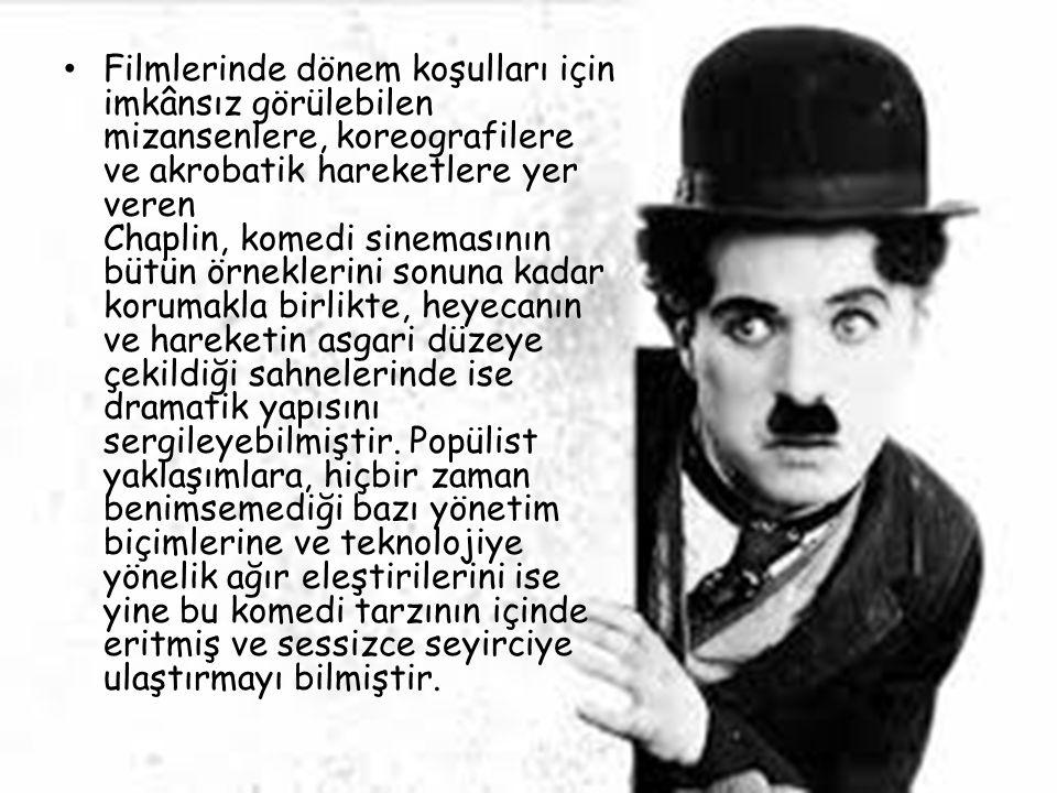 Filmlerinde dönem koşulları için imkânsız görülebilen mizansenlere, koreografilere ve akrobatik hareketlere yer veren Chaplin, komedi sinemasının bütü