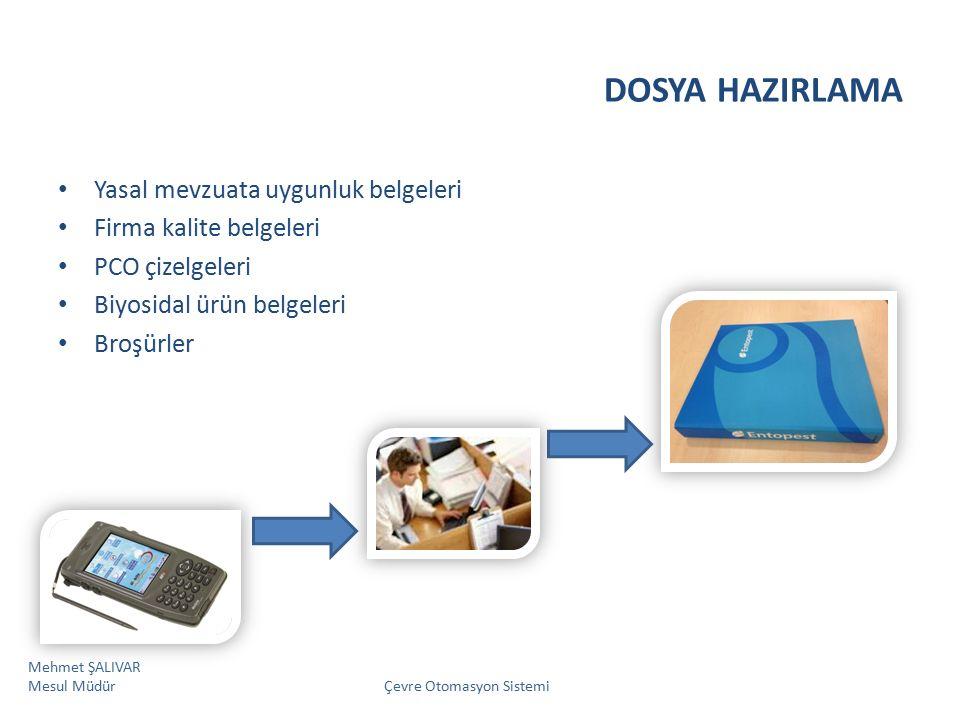 DOSYA HAZIRLAMA Yasal mevzuata uygunluk belgeleri Firma kalite belgeleri PCO çizelgeleri Biyosidal ürün belgeleri Broşürler Mehmet ŞALIVAR Mesul Müdür