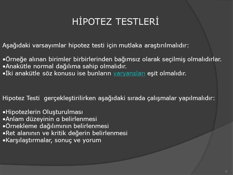 6 HİPOTEZ TESTLERİ Aşağıdaki varsayımlar hipotez testi için mutlaka araştırılmalıdır: Örneğe alınan birimler birbirlerinden bağımsız olarak seçilmiş o