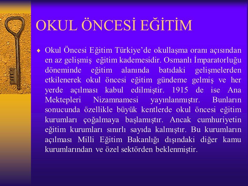 OKUL ÖNCESİ EĞİTİM  Okul Öncesi Eğitim Türkiye'de okullaşma oranı açısından en az gelişmiş eğitim kademesidir.