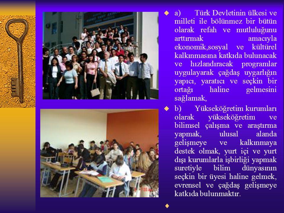 a) Türk Devletinin ülkesi ve milleti ile bölünmez bir bütün olarak refah ve mutluluğunu arttırmak amacıyla ekonomik,sosyal ve kültürel kalkınmasına katkıda bulunacak ve hızlandıracak programlar uygulayarak çağdaş uygarlığın yapıcı, yaratıcı ve seçkin bir ortağı haline gelmesini sağlamak,  b) Yükseköğretim kurumları olarak yükseköğretim ve bilimsel çalışma ve araştırma yapmak, ulusal alanda gelişmeye ve kalkınmaya destek olmak, yurt içi ve yurt dışı kurumlarla işbirliği yapmak suretiyle bilim dünyasının seçkin bir üyesi haline gelmek, evrensel ve çağdaş gelişmeye katkıda bulunmaktır.