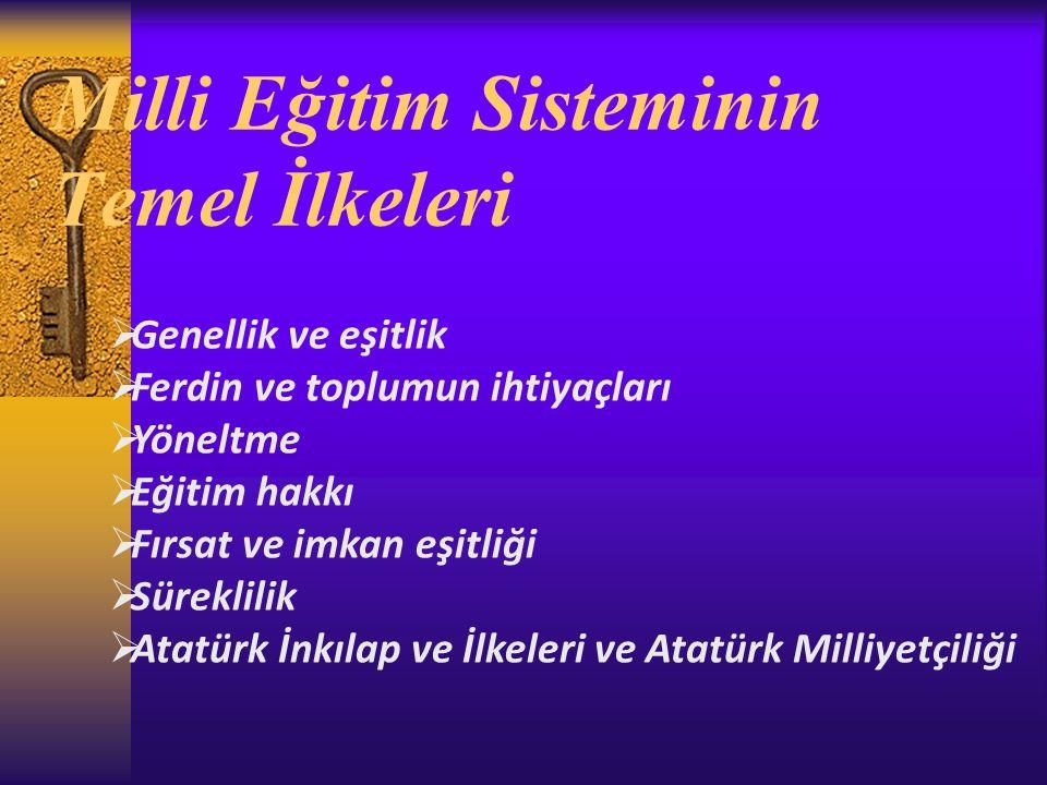 Milli Eğitim Sisteminin Temel İlkeleri  Genellik ve eşitlik  Ferdin ve toplumun ihtiyaçları  Yöneltme  Eğitim hakkı  Fırsat ve imkan eşitliği  Süreklilik  Atatürk İnkılap ve İlkeleri ve Atatürk Milliyetçiliği