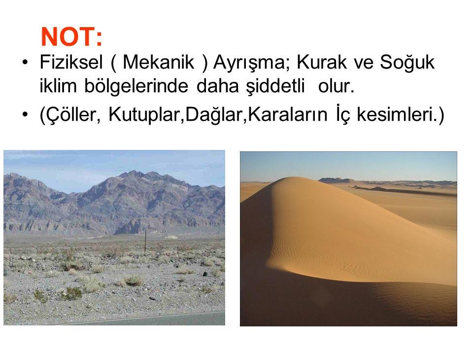KİMYASAL AYRIŞMA: Nem ve yağışın fazla, sıcaklık farkının az olduğu alanlarda taşların eriyerek ufalanmasıdır.