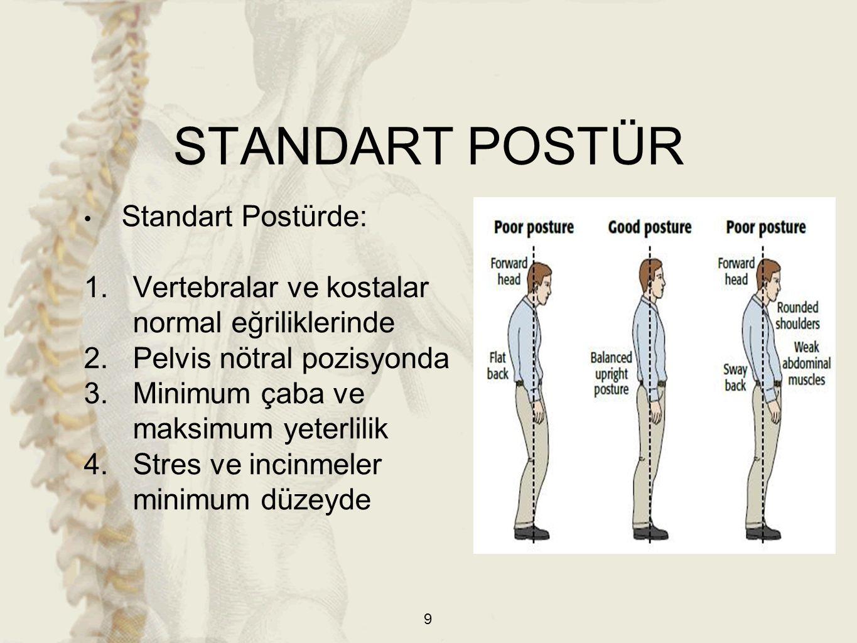 40 a) Standart Postür b) Yerçekimi çizgisinin vücudun orta çizgisine göre solda kaldığı postür c) Yerçekimi çizgisinin vücudun orta çizgisine göre sağda kaldığı postür POSTERIOR POSTÜR ANALİZİ