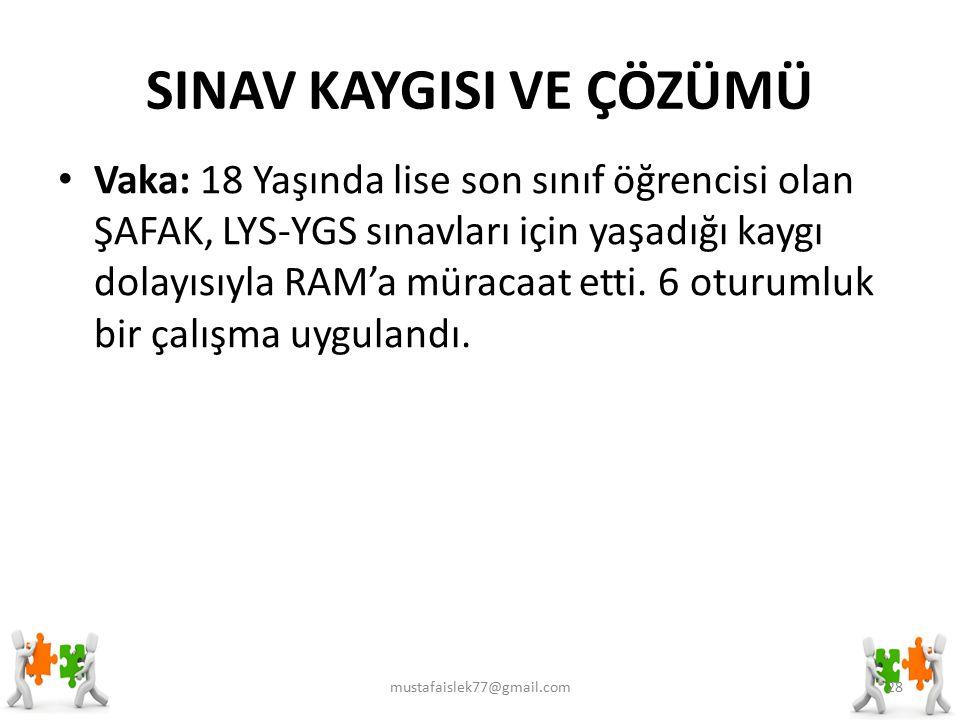 SINAV KAYGISI VE ÇÖZÜMÜ Vaka: 18 Yaşında lise son sınıf öğrencisi olan ŞAFAK, LYS-YGS sınavları için yaşadığı kaygı dolayısıyla RAM'a müracaat etti.