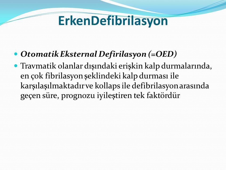 ErkenDefibrilasyon Otomatik Eksternal Defirilasyon (=OED) Travmatik olanlar dışındaki erişkin kalp durmalarında, en çok fibrilasyon şeklindeki kalp du