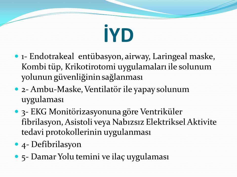 İYD 1- Endotrakeal entübasyon, airway, Laringeal maske, Kombi tüp, Krikotirotomi uygulamaları ile solunum yolunun güvenliğinin sağlanması 2- Ambu-Mask