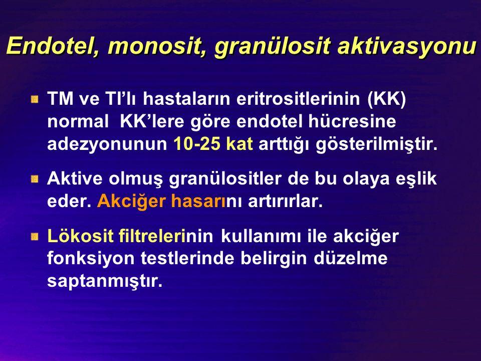 Endotel, monosit, granülosit aktivasyonu TM ve TI'lı hastaların eritrositlerinin (KK) normal KK'lere göre endotel hücresine adezyonunun 10-25 kat artt