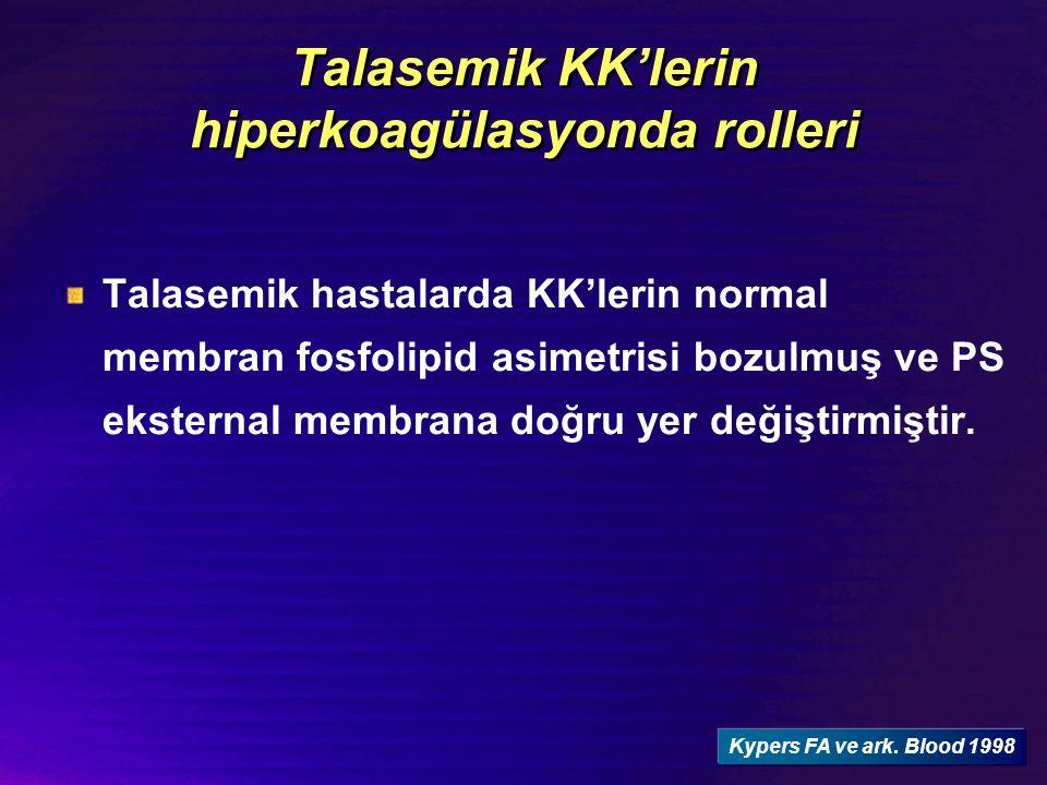 Talasemik hastalarda KK'lerin normal membran fosfolipid asimetrisi bozulmuş ve PS eksternal membrana doğru yer değiştirmiştir. Kypers FA ve ark. Blood