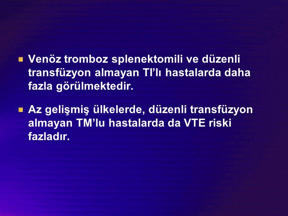 Venöz tromboz splenektomili ve düzenli transfüzyon almayan TI'lı hastalarda daha fazla görülmektedir. Az gelişmiş ülkelerde, düzenli transfüzyon almay