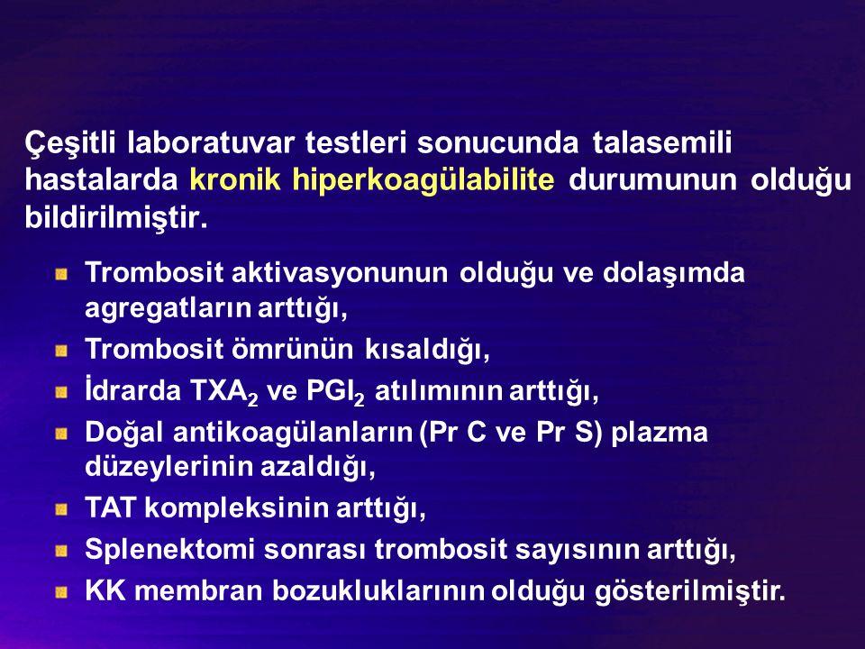 Çeşitli laboratuvar testleri sonucunda talasemili hastalarda kronik hiperkoagülabilite durumunun olduğu bildirilmiştir. Trombosit aktivasyonunun olduğ