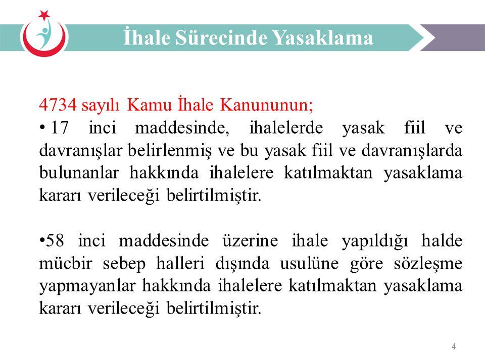 4 4734 sayılı Kamu İhale Kanununun; 17 inci maddesinde, ihalelerde yasak fiil ve davranışlar belirlenmiş ve bu yasak fiil ve davranışlarda bulunanlar hakkında ihalelere katılmaktan yasaklama kararı verileceği belirtilmiştir.