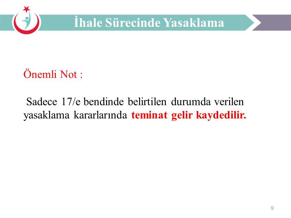 9 Önemli Not : Sadece 17/e bendinde belirtilen durumda verilen yasaklama kararlarında teminat gelir kaydedilir.