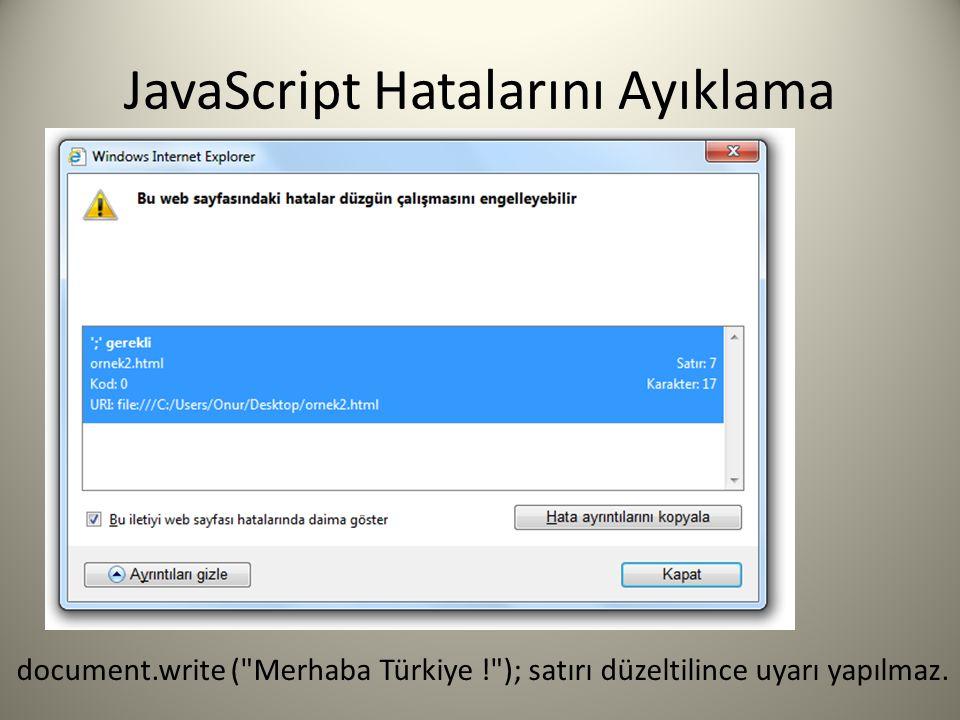 JavaScript Hatalarını Ayıklama document.write ( Merhaba Türkiye ! ); satırı düzeltilince uyarı yapılmaz.