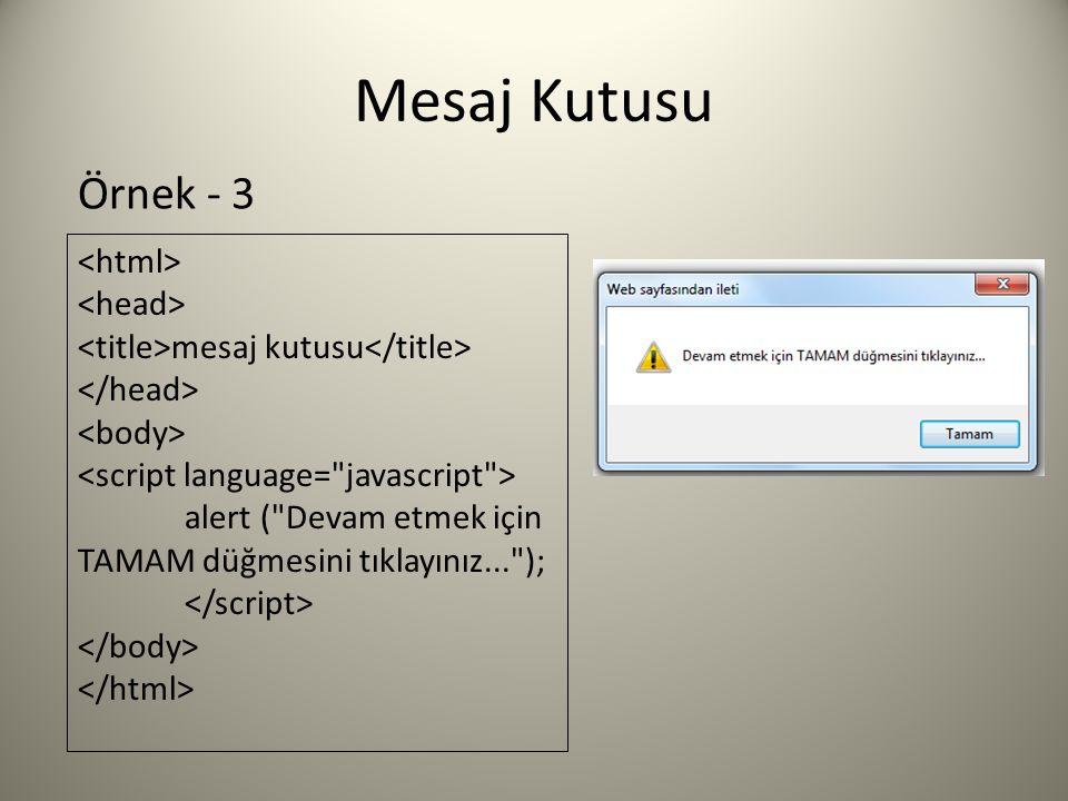Mesaj Kutusu mesaj kutusu alert ( Devam etmek için TAMAM düğmesini tıklayınız... ); Örnek - 3